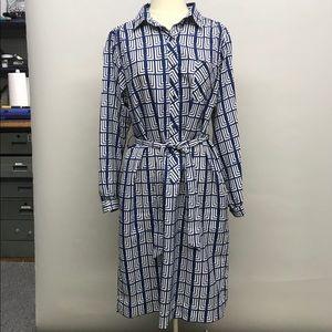 Vintage Lanvin blue white pattern tunic dress belt